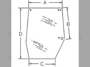 Cab Glass - Door Upper RH Case IH 5120 5130 5140 5220 5230 5240 5250 1330930C2