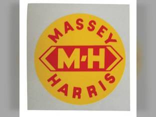 """Tractor Decal 3"""" Round M-H Yellow w/Red Letters Mylar Massey Harris Challenger 201 744 82 202 20 81 Pony Pacemaker 30 333 50 22 101 203 745 444 44 102 Colt 33 555 55 Mustang"""
