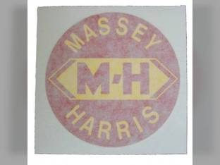 """Tractor Decal 1-1/2"""" Round M-H Red w/Yellow Letters Vinyl Massey Harris Challenger 201 744 82 202 20 81 Pony Pacemaker 30 333 50 22 101 203 745 444 44 102 Colt 33 555 55 Mustang"""