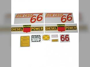 Tractor Decal Set 66 Row Crop Diesel Red Mylar Oliver 66