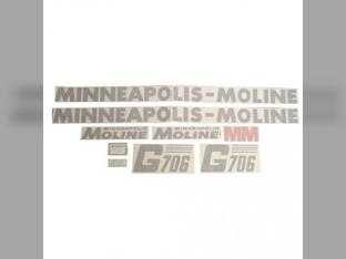 Tractor Decal Set G706 Slanted Modern Letters Vinyl Minneapolis Moline G706