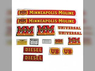 Tractor Decal Set UB Diesel Mylar Minneapolis Moline UB