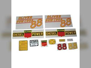 Tractor Decal Set 88 Row Crop Diesel Yellow Mylar Oliver 88