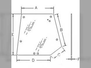 Cab Glass - Rear Window Upper Tinted Massey Ferguson 4270 4263 4253 4265 4355 4240 4255 4260 4245 4235 4370 4225 4243 4345 4360 3806581M3