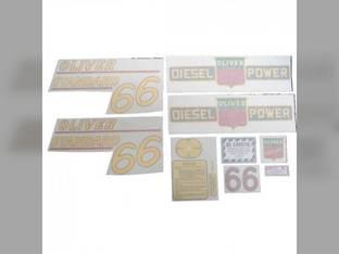 Tractor Decal Set 66 Standard Diesel Yellow Vinyl Oliver 66