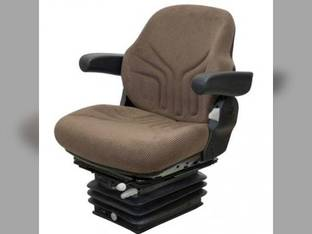 Seat Assembly - Air Suspension with Armrests Fabric Brown JD DLX Late 30-55 Suspension John Deere 4450 4050 4240 4840 4640 4755 4250 4650 4030 4000 4040 4430 4630 4255 4055 4955 4440 4850 4230 4455