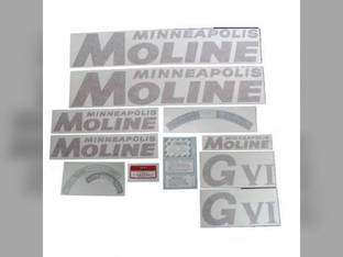 Tractor Decal Set GVI Red Vinyl Minneapolis Moline GVI