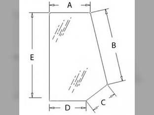 Cab Glass - Side Window Rear RH or LH New Holland LB75B LB75 LB75CP LB90 LB115B LB90B LB110B LB110 LB115 85801628 Ford 675E 675 575E 575 655 555 555E 655E