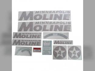 Tractor Decal Set Super 4 Star Red Vinyl Minneapolis Moline SUPER 4 STAR
