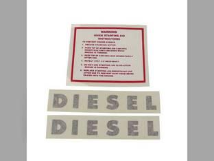 Tractor Decal Set Diesel Warning Quick Starting Instructions Vinyl Minneapolis Moline G708 G1350 M604 G900 G1000 U302 G704 M602 G1050 SUPER U302 M670 Super G705 G950 G707 G955 G706 M670