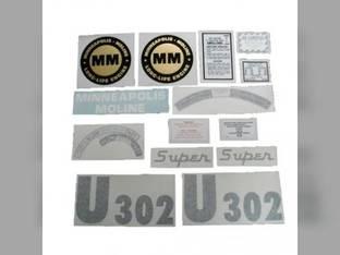 Tractor Decal Set Super U302 Vinyl Minneapolis Moline SUPER U302
