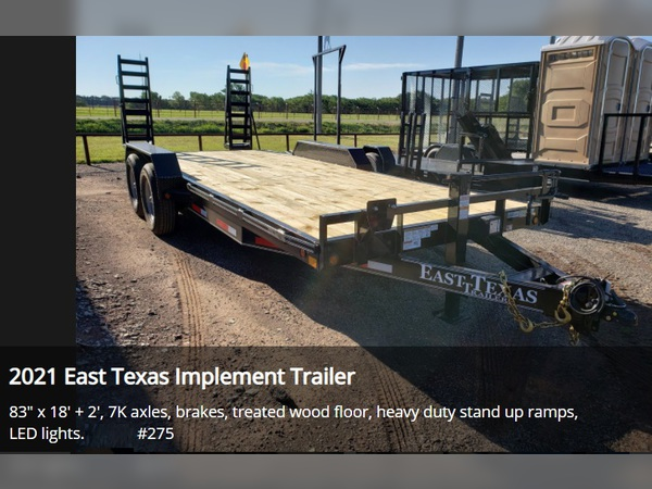 2021 East Texas Trailers Implement Trailer