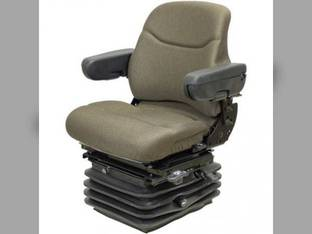 Seat Assembly - Air Suspension Tufftex Fabric Brown John Deere 8000-8010 Series Tractors Case IH MX150 MX135 MX285 MX200 MX210 MX245 MX220 MX180 MX215 MX230 MX120 MX255 New Holland McCormick Ford