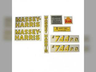 Tractor Decal Set 744 P.D. Vinyl Massey Harris 744
