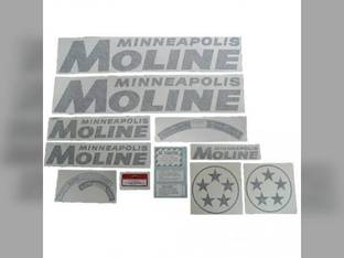 Tractor Decal Set 5 Star Black Vinyl Minneapolis Moline 5 Star