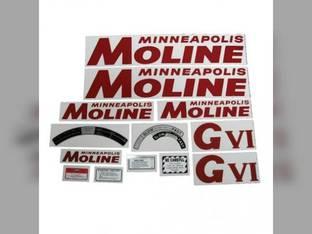 Tractor Decal Set G-VI Red Mylar Minneapolis Moline GVI