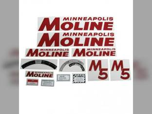 Tractor Decal Set M5 Red Mylar Minneapolis Moline M5