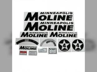 Tractor Decal Set Super 4 Star Black Mylar Minneapolis Moline SUPER 4 STAR