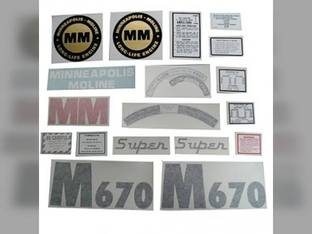 Tractor Decal Set Super M670 Vinyl Minneapolis Moline M670 Super