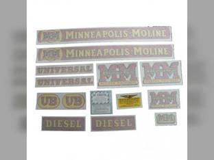 Tractor Decal Set UB Diesel Vinyl Minneapolis Moline UB