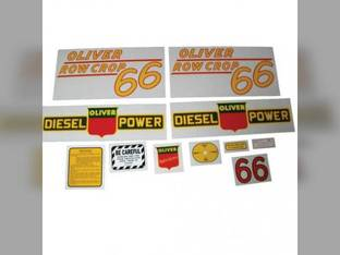 Tractor Decal Set 66 Row Crop Diesel Yellow Mylar Oliver 66