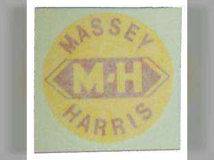 "Tractor Decal 1-1/2"" Round M-H Yellow w/Red Letters Vinyl Massey Harris 201 82 202 81 Pacemaker 44 33 20 50 102 55 Mustang Challenger 30 101 203 444 Colt 744 Pony 333 22 745 555"