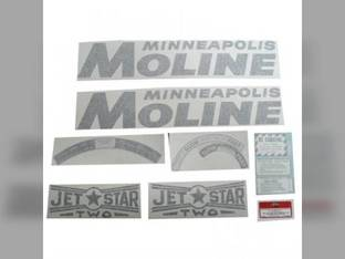 Tractor Decal Set Jet Star 2 Gold Vinyl Minneapolis Moline Jet Star 2