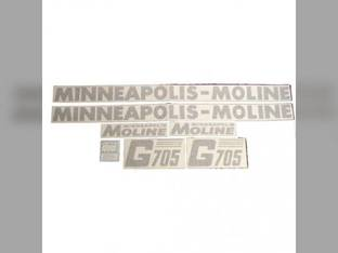 Tractor Decal Set G705 Slanted Modern Letters Vinyl Minneapolis Moline G705