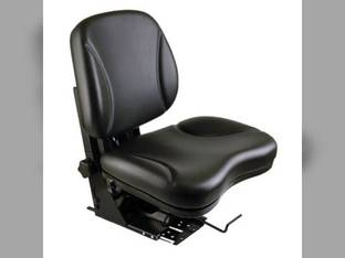 Seat Assembly - Black Vinyl Flat Back Mechanical Suspension Ford 5610 6610 2000 4000 4110 Massey Ferguson 135 John Deere 2750 2440 Long David Brown New Holland Zetor White Mahindra Hesston Belarus