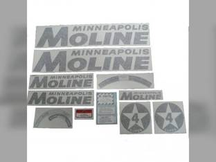 Tractor Decal Set Super 4 Star Black Vinyl Minneapolis Moline SUPER 4 STAR