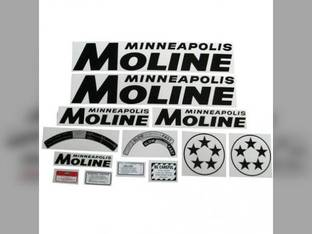 Tractor Decal Set 5 Star Black Mylar Minneapolis Moline 5 Star