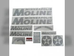 Tractor Decal Set 4 Star Black Vinyl Minneapolis Moline 4 Star