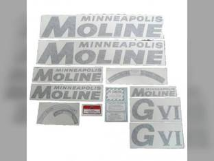 Tractor Decal Set GVI Black Vinyl Minneapolis Moline GVI
