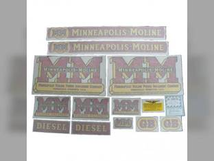 Tractor Decal Set GB Diesel Wide Fenders Vinyl Minneapolis Moline GB