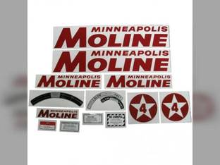 Tractor Decal Set 4 Star Red Mylar Minneapolis Moline 4 Star