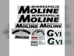 Tractor Decal Set G-VI Black Mylar Minneapolis Moline GVI