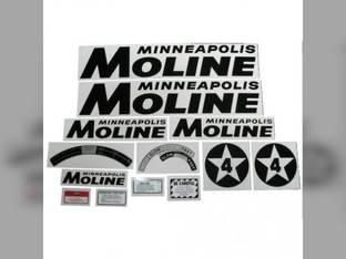 Tractor Decal Set 4 Star Black Mylar Minneapolis Moline 4 Star