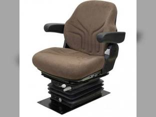 Seat Assembly - Air Suspension w/Armrests Grammer Style Fabric Brown JD 30-55 Hydraulic Series John Deere 4050 4630 4240 4450 4640 4230 4250 4650 4255 4455 4000 4840 4430 4040 4030 4055 4440 4850