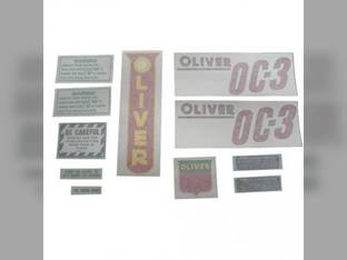 Tractor Decal Set OC-3 Red Vinyl Oliver OC3