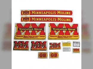 Tractor Decal Set GB Wide Fenders Mylar Minneapolis Moline GB