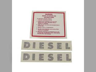 Tractor Decal Set Diesel Warning Quick Starting Instructions Vinyl Minneapolis Moline G900 G1000 G1050 G705 G950 G706 M670 M602 SUPER U302 G955 G708 M604 U302 G704 G1350 M670 Super G707